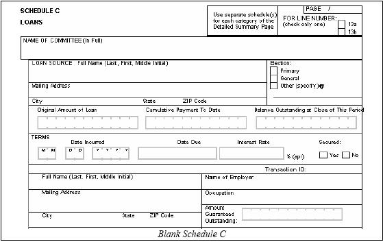 FEC Form 3x Schedule C C1 Loans and Supplemental Loans – Schedule C Form