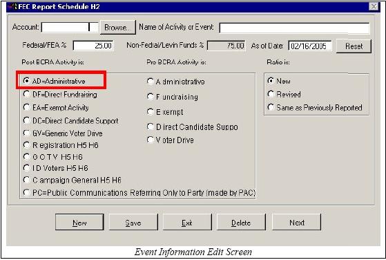 FEC Form 3x - Schedule H1-H6 - Aristotle Support :: Knowledgebase